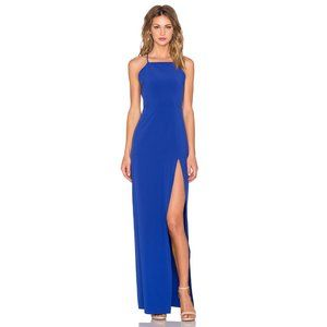 NWT Donna Mizani Square Neck Gown in Lapis Blue XS